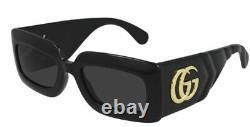 GUCCI GG0811S 001 Black Grey Rectangle Women's Sunglasses 53 mm