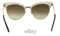 GUCCI GG 4283/S Women Sunglasses White Gold Cat Eye Mother of Pearl Brown U29JD