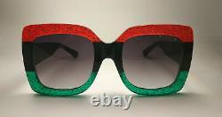 GUCCI Grey Gradient GG0083S 001 Square RedBlackGreen Original Sunglasses
