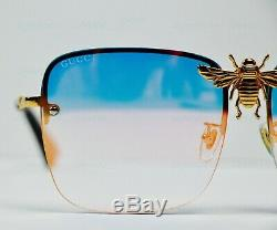 GUCCI I'll be rich forever Blue Gold RARE Square BEE Sunglasses Mirrored