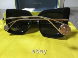 Gucci Black & Grey Gold Square Women's Sunglasses GG0435S-001