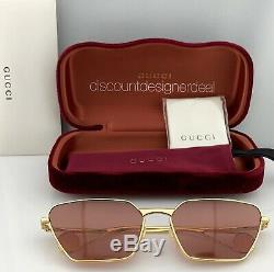 Gucci Cateye Sunglasses GG0538S 002 Yellow Gold Frame Pink Lens 63mm