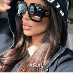 Gucci GG0053S 001 54mm Oversize Square Black Women Sunglasses NEW Authentic