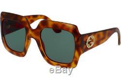 Gucci GG0053S 002 Sunglasses Light Havana Brown Frame Green Lenses 54mm
