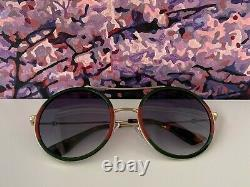 Gucci GG0061S 003 Gold Red Green Round Frame Gray Lens Unisex Sunglasses
