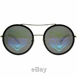Gucci GG0061S 014 Gold Black Metal Round Sunglasses Gucci Tiger Lens