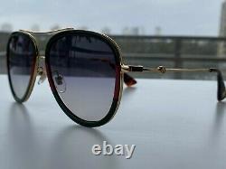 Gucci GG0062S 003 Black Red Green Aviator Sunglasses Gray Lens Unisex Oversize