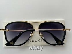 Gucci GG0062S 011 Aviator Black Gold Sunglasses Gray Lens Oversize Unisex