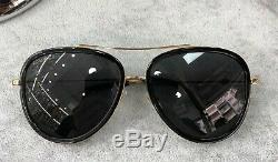Gucci GG0062S 011 Black Gold Aviator Sunglasses Grey Gradient Lens