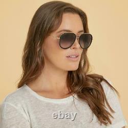 Gucci GG0062s 007 Black & Gold /Grey Gradient Pilot Sunglasses Sonnenbrille 57mm