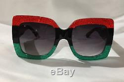 Gucci GG0083S 001 Red Black With Grey Gradient Lenses Sunglasses 100%UV