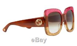Gucci GG0083S 002 Oversize Tortoise Pink Gold Square Women Sunglasses 100% UV