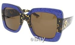 Gucci GG0083S 003 Glitter Blue-Tortoise With Brown Lenses 55MM Sunglasses 100%UV