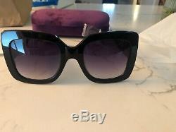 Gucci GG0083S 008 54mm Oversized Square Black Women Sunglasses New