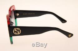 Gucci GG0083 001 Square Sunglasses in Red Green Black Authentic 100% UV