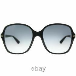 Gucci GG0092S 001 Black Plastic Square Sunglasses Grey Gradient Lens