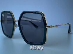 Gucci GG0106S 001 Gold Black Square Frame Gray Lens Women's Sunglasses Oversize