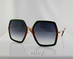 Gucci GG0106S 007 56mm Square Green/Red Women Sunglasses with Light Grey Lens