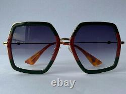 Gucci GG0106S 007 Gold Red Green Square Frame Gray Lens Sunglasses Oversize Uni