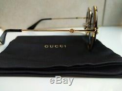 Gucci GG0113S 001 Black Gold Sunglasses 44mm L'AVEUGLE PAR AMOUR. New