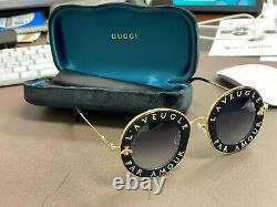 Gucci GG0113S 001 Black Gold Sunglasses L'Aveugle Par Amour