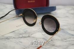 Gucci GG0113S 001 Black Gold Sunglasses L'Aveugle Par Amour Authentic