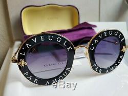 Gucci GG0113S 001 Sunglasses L'Aveugle Par Amour Black New