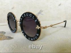 Gucci GG0113S Gradient Round Sunglasses Black/Gold/Grey