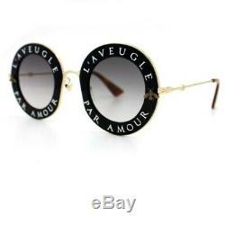 Gucci GG0113/S L'Aveugle Par Amour Black/Gold Metal Round Sunglasses %100 Auth