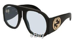 Gucci GG0152S Black/Light Blue (001 AU) Sunglasses