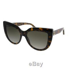 Gucci GG0164S 002 Havana Plastic Cat-Eye Sunglasses Brown Gradient Lens
