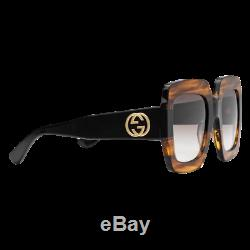6eaca1f422 Gucci Gg0178s 004 Oversize Tortoise Black Square Women Sunglasses 100% Uv