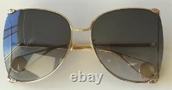 Gucci GG0252S 002 Gold Metal Frame Grey Gradient Lens Butterfly Pearl Sunglasses