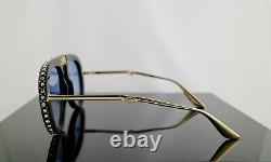 Gucci GG0307S Black Foldable Sunglasses Light Blue Lens with Crystals 100% UV