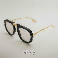 Gucci GG0307S GG/0307/S 002 Black/Gold Fashion Pilot Folding Sunglasses 56mm