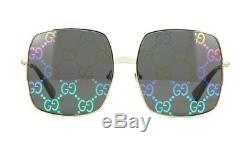 Gucci GG0414S Gold/Grey Monogram Mirrored (003 VP) Sunglasses