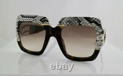 Gucci GG0484S 54mm Square Havana Women Sunglasses with Light Brown Lens