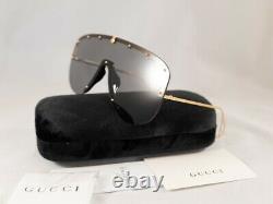 Gucci GG0667S 667 001 Black Gold Grey Lens Women Sunglasses Large Shield Authent