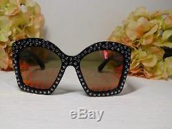 Gucci GG3870S Oversized Black Frame withStar Sunglasses 55 20 135NIB$700Italy