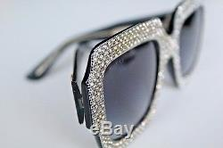 Gucci GG 0048S 003 Black Crystal Oversize Square-frame GG0048 S 003 Sunglasses