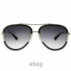 Gucci GG 0062S 006 Black/White Metal Aviator Sunglasses Grey Gradient Lens