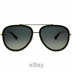 Gucci GG 0062S 011 Black Gold Aviator Sunglasses Grey Gradient Polarized Lens