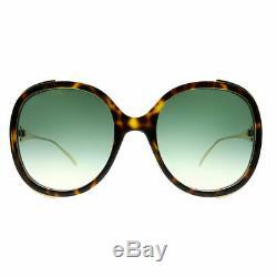 Gucci GG 0226S 003 Havana Plastic Round Sunglasses Green Gradient Lens
