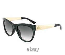 Gucci GG 3739/N/S VKB/9K Glitter Green & Gold Sunglasses Grey Gradient Lens S 55