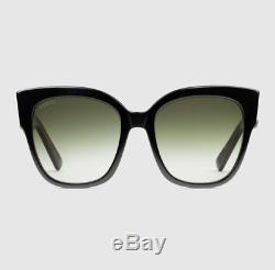Gucci Square Frame Black Green Sunglasses with Web Women NEW