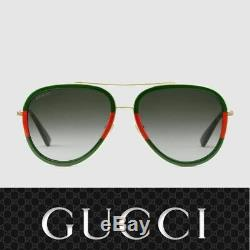 Gucci Sunglasses GG0062S 003 Gold Red Green / Gray for Women
