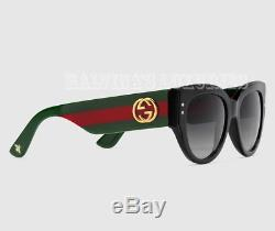 Gucci Sunglasses Gg 3864/s U1c9o Cat Eye Black Web Interlocking G Logo & Bee