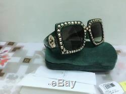 Gucci Sunglasses Women's Black green Oversized Square Bling