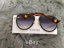 Gucci Women Design Sunglasses GG0062S 003 Green Gold/Grey