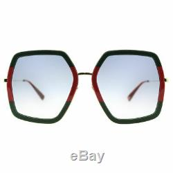 Gucci Women Design Sunglasses GG0106S 007 Green Gold/Grey Gradient Lens 56mm